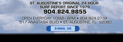 St. Augustine Florida original 24 hour surf report since 1979.